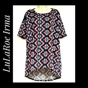 LuLaRoe Irma Tunic Red White Blue Black Tribal NWT